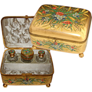 """SOLD LG Antique French Gilded 10.5"""" Dressing or Vanity Box, Ornate Hand Painted Floral De"""