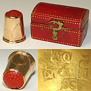 Antique Swedish 18k Yellow Gold & Carved Carnelian Sewing Thimble, Orig. Box or Etui
