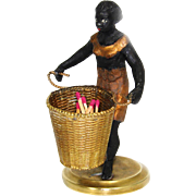 SOLD Petit Antique French Blackamoor Female Figure with Basket for Flowers, etc, Figural & c.1