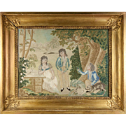 SALE RARE Antique c.1816 French Silk Embroidery Needlework Sampler, Chenille, Empire Frame #1