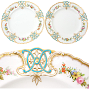 "Gorgeous Antique MINTON 9 3/8"" Cabinet Plate PAIR, Pierced or Reticulated Borders & HP Fl"