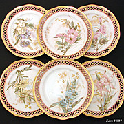 SALE Set of 6 Antique Cabinet Plates, Reticulated Pink & Gold Borders with Colorful Floral Cen