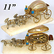 """SALE PENDING Antique French Palais Royal 11"""" Long Mother of Pearl Carriage Sewing Etui, P"""