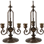 SALE Antique French Bronze Candelabra Pair (2), Signed: F. Barbedienne (Paris Foundry)