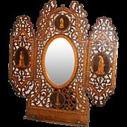 "SALE RARE Huge Antique Italian Sorrento 16.5"" Sheet Music Stand, Mirror, Figural & Marque"