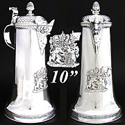 "SOLD Fabulous Antique Swiss Continental Silver 10.5"" Claret Jug or Ewer, 1904 Armorial St"