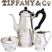 SALE Lovely Vintage Tiffany & Co. Sterling Silver 3pc Solitaire Coffee or Tea Set, Tea Pot ...