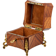 SALE Superb Antique French Napoleon III Era Jewelry Casket, Box in Kingwood, Ormolu - Key!