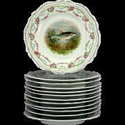 SALE RARE Antique Set of 12 HP Fish Plates, Stunning Royal Austria