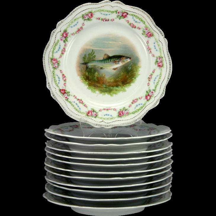 RARE Antique Set of 12 HP Fish Plates, Stunning Royal Austria