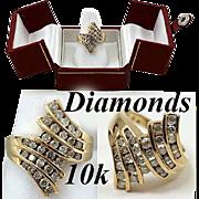 SALE Vintage Estate 10K Gold & Diamond Cocktail Ring, 1.5 carat t.w.