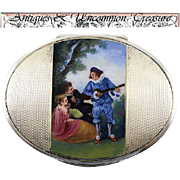 SALE Viennese Enamel on Sterling Silver Box, Casket or Snuff