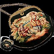 SALE Antique French Aubusson Hand Bag, Purse, Romantic