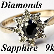 SALE Lovely Vintage English 9k Gold, Sapphire & Diamond Ring