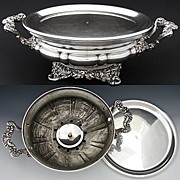 """SALE Antique French SP Chaffing Dish, Ornate 3pc 14"""" Buffet Warmer"""