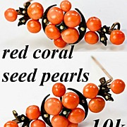SALE Antique Victorian 10k Brooch, Red Coral and Seed Pearls