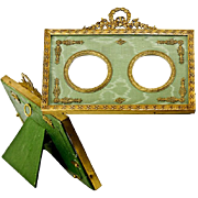 SALE Antique French Dore Bronze Photo or Miniature Portrait Frame, Double, Silk Mat
