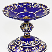 SOLD Elegant Antique Kiln-fired Enamel Tray, Tazza or Small Compote, Cobalt Blue