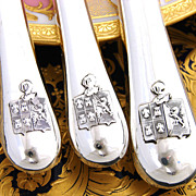SALE RARE Antique French Sterling Silver 54 pc Table Knife Set, 3pc Setting for 18 with Armori