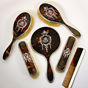 SALE Antique Edwardian English Sterling Silver and Faux Tortoise Shell Dressing Table Set, Mir