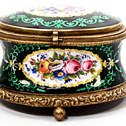 SALE Antique French Kiln-fired Enamel Jewelry Casket, Box, Case - unsigned Tahan