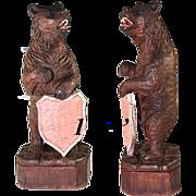 "SALE Vintage Hand Carved 14.5"" Tall Black Forest Bear Menu Stand or Household Crest ..."