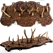 "SALE Fine Antique Stag Antler & Carved Black Forest 20"" Wall Mount Hat Rack"