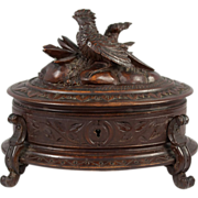 SOLD Antique Hand Carved Black Forest Jewelry Casket, Oval with Bird, c. 1880