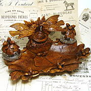 SALE LG Antique Black Forest Carved Double Inkwell or Inkstand, Birds w/ Nest & Acorns & Oak L