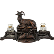 SOLD Antique Black Forest Standish, Double Ink Well Stand, Mountain Sheep, Lamp Base