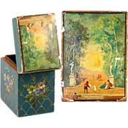 SALE Antique French 2-Deck Playing Cards Box, Casket, Hand Painted Wood, Vernis Martin
