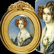 SALE Antique French Portrait Miniature of Young Beauty, Gilt Bronze Frame & Mat, c. 1830-40