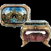 SOLD Antique French Eglomise Jewelry Casket, Box, 1900 Paris Expo, Palais d'Eau (Water Palace)