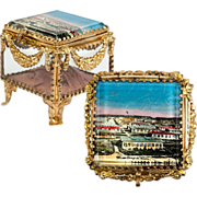 SALE Antique French Souvenir Jewelry Box, Casket, Garland Swags & Camp d'Antibes