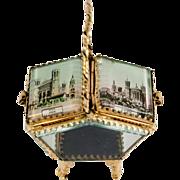 SALE Antique French Basket-Style Eglomise Souvenir Jewelry Box, Casket, Lyon, France