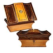 Antique French Sewing Box, c.1770 - 1830, Working Lock with Key, Lemonwood and Walnut