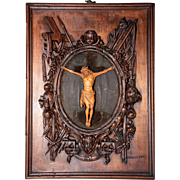 Antique French Guéret Freres Hand Carved Religious Frame, Masterpiece Bas Relief Sculpture