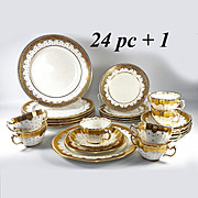 SALE Tiffany & Co Set 34pc Minton Luncheon, Dessert and Tea, Cream Soup or Boullion Set. Encru