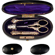 Antique French Sterling Silver Sewing Set in Etui, Box, c.1850 - 1870, 18k Vermeil Scissors ..