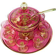 SALE Pink! Antique French Crystal Fruit or Dessert, Punch Bowl Set, Tray, Sherbet Cups, Ladle