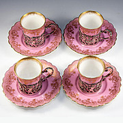 Antique English 1906 Sterling Silver Putti Holders, Set of 4 Pink, Gold Demitasse Cups, Saucers (+ Extras)