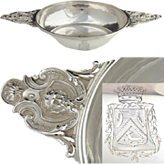 SALE Antique French Sterling Silver Legumier or Ecuelle (Bowl), Armorial Crown & Mascarons
