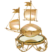 SALE Rare Antique French Palais Royal Sewing Etui, Casket, Sailboat Shape w/ Mirror Plinth