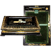 SALE Fine 19th C. Papier Mache Writing Box/Slope, HP & MOP Decoration