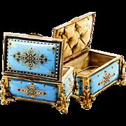 SALE Celeste Blue! Antique TAHAN, Paris, French Kiln-fired Enamel Jewelry Casket, Box, Dore ..
