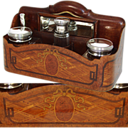 SOLD RARE Antique French Marquetry Inlay Automobile or Carriage Vanity Caddy, Box: Sterling Si