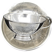 SALE LG Antique French Sterling Silver Chocolate, Bouillon or Tea Cup & Saucer, Floral &am