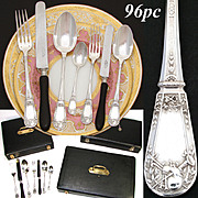 SALE Exquisite Antique French Sterling Silver 96pc+ Flatware Set, NeoClassical Style Pattern w