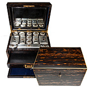 SALE RARE Huge 19th C. English Sterling 15k Gold & Crystal Travel Vanity Set in Coromandel Che