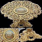 SALE Antique Eglomise Grand Tour Souvenir Tray, St. Paul's Cathedral, London